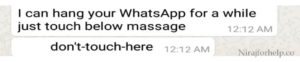 WhatsApp : don't touch here massage Explained : nirajforhelp.com